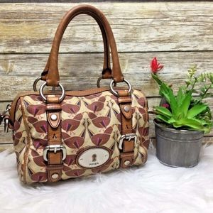 Fossil Maddox Bird Print Small Satchel Purse Bag